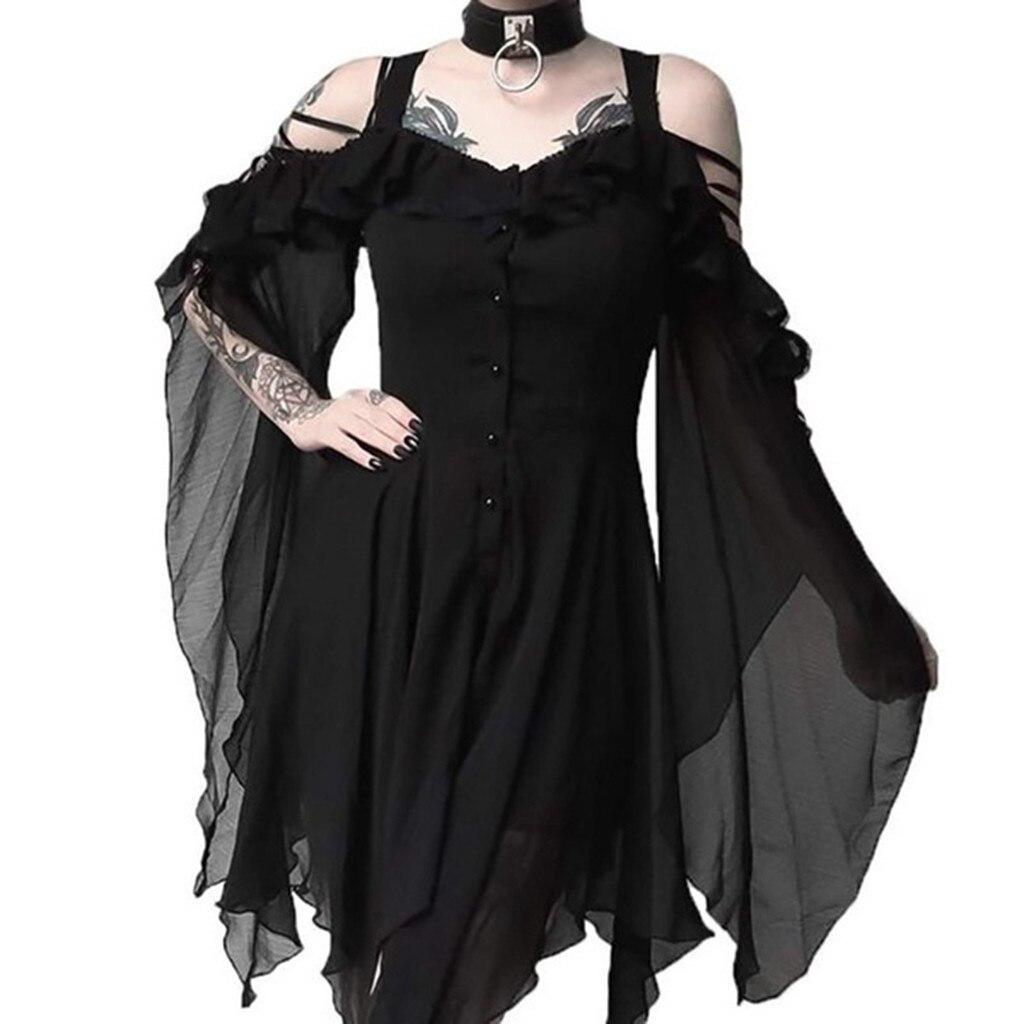 Vestido asimétrico gótico con hombros descubiertos y mangas con volantes en el amor oscuro a la moda de talla grande para mujer novedad vestido suelto liso