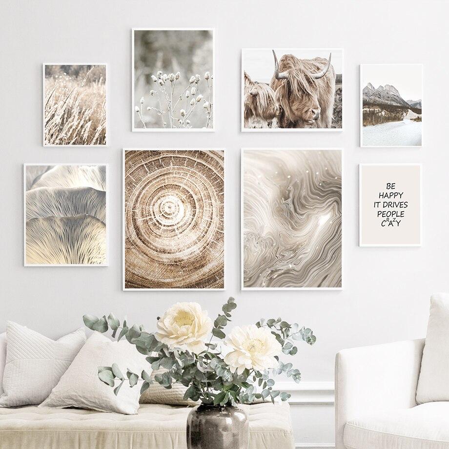 Berg Wald See Reed Highland Cattle Zitat Wand Kunst Leinwand Malerei Nordic Poster Und Drucke Wand Bilder Für Wohnzimmer