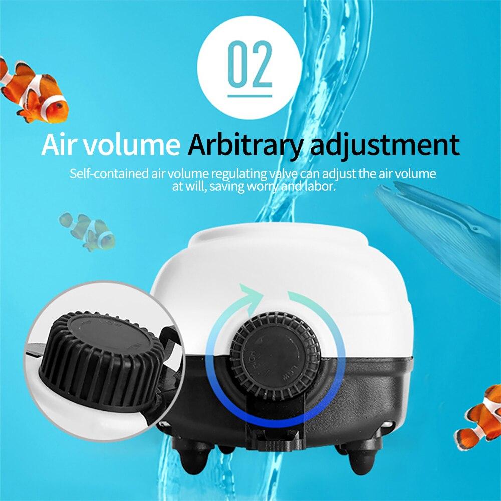 Bomba de aire de acuario Ultra silenciosa ajustable para volumen de aire bomba de aire de oxígeno salida simple y doble 2,5/3/3. 5W