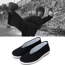 Adam siyah çin geleneksel pamuk Flats ayakkabı adam için Bruce Lee Cosplay Kung Fu üniforma Wushu Tang takım elbise Taichi performans