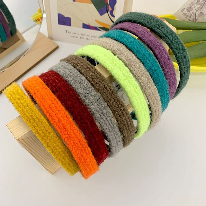 H:HYDE Vintage Retro Winter Knit Headband Solid Color Headwear Creative Fashion Hair Accessories for Lady Women Girl