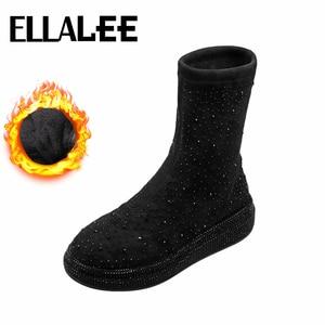 Black Boots Women High-top Bling Crystal Microfiber Upper Non-slip Sole Hot Sale Slip-on Elegant Fashionable Short Boots Female