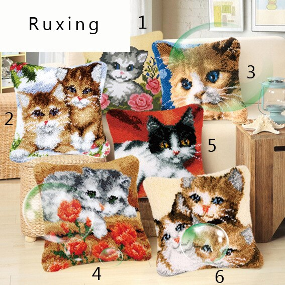 Gancho de pestillo bordado almohada gato tejer cojín Kits Stitch hilo funda de almohada tiro almohadas artesanías hechas a mano decoración del hogar