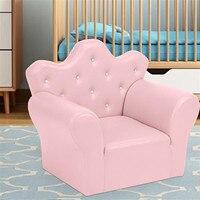 Children Princess Mini Sofa Single PVC Leather Soft Comfortable Fashionable Kids Furniture Relax Play Pink White Blue 3 Colors