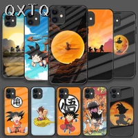 cute dragon balls goku tempered glass phone case for iphone 5 6 7 8 11 12 s se x xs xr plus pro max 2020 mini cover cell black