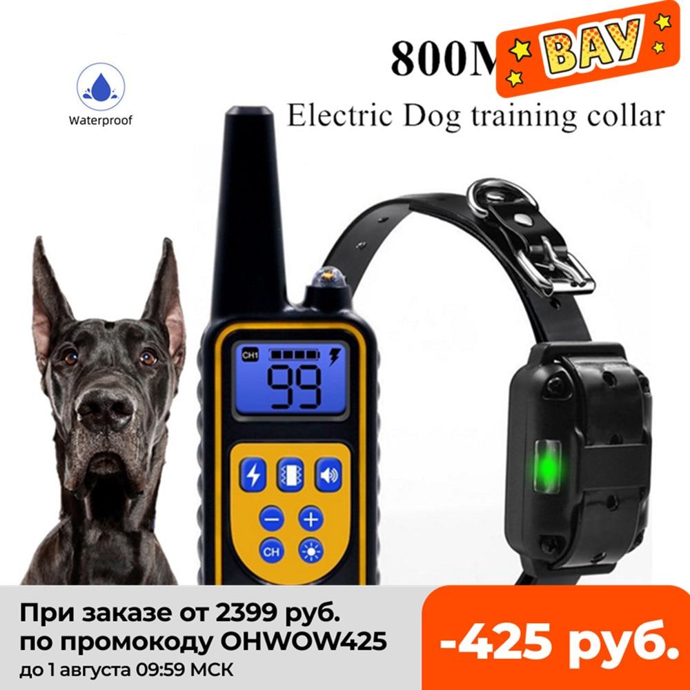 طوق كهربائي لتدريب الكلاب ، 800 متر ، جهاز تحكم عن بعد للحيوانات الأليفة ، مقاوم للماء ، قابل لإعادة الشحن ، لجميع الأحجام ، صوت اهتزاز ، خصم 40 ٪