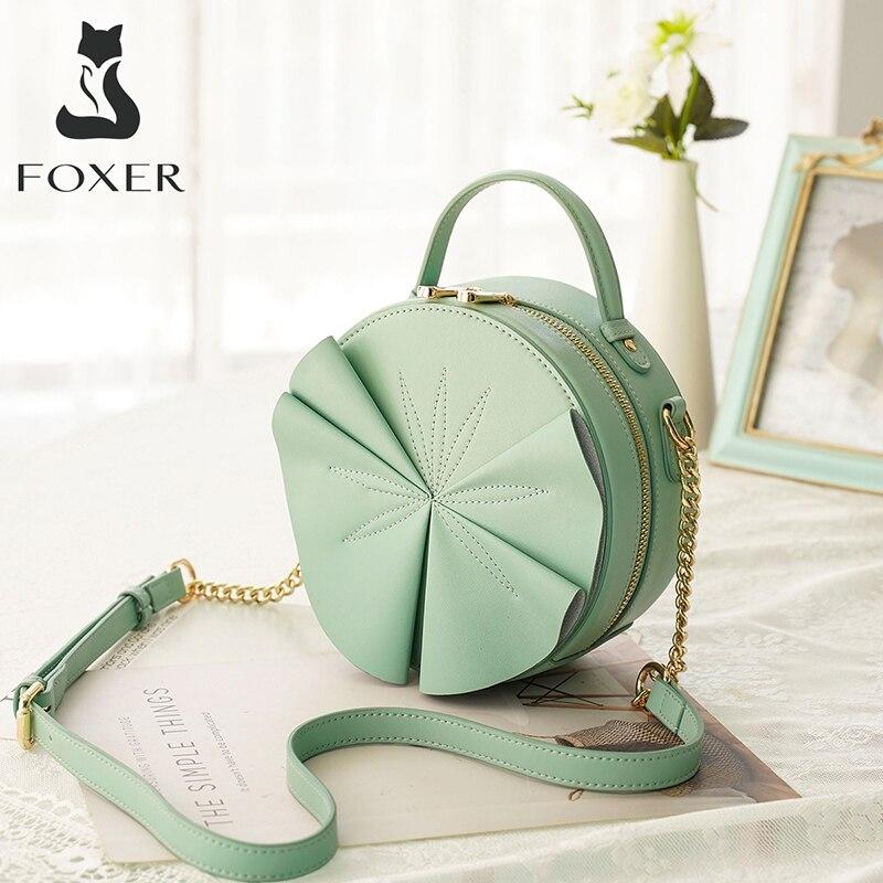 Женская круглая сумка через плечо FOXER черная шикарная мини роскошная вечерняя из
