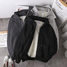 Women sweatshirt solid color 2020 autumn winter new imitation lamb wool korean loose plus velvet thi