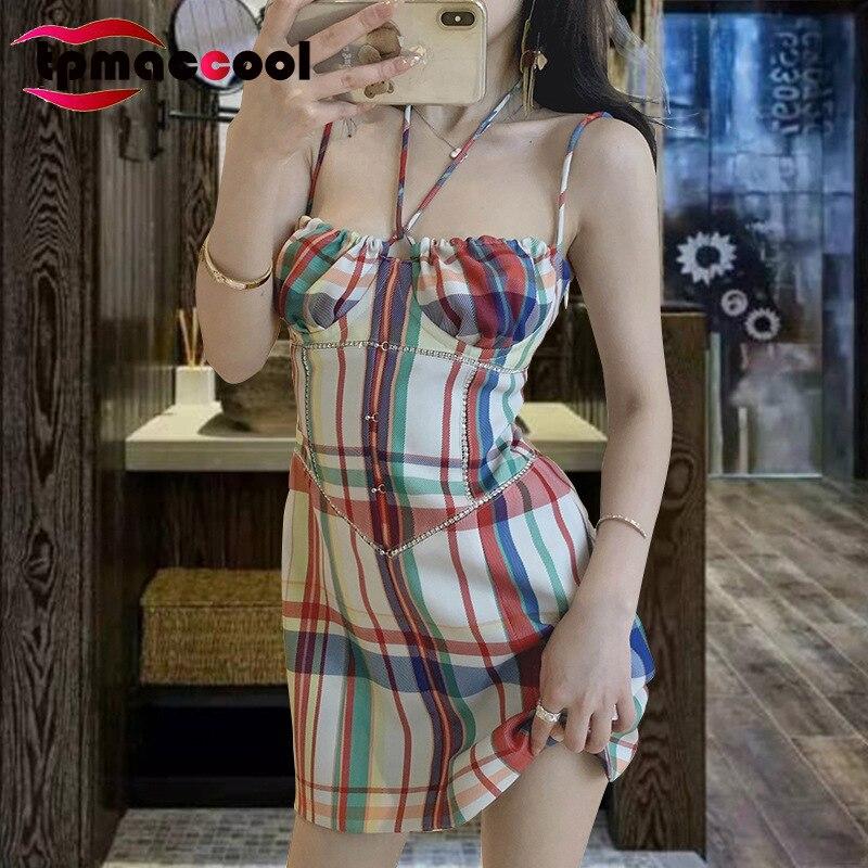 Tpmaccool роскошные дизайнерские женские летние вечерние платья, женские цветные клетчатые стразы, сексуальное элегантное мини-платье на брете...
