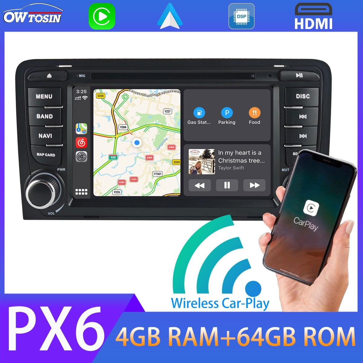 Android 9,0 PX6 4GB + 64GB coche DVD reproductor Multimedia para Audi A3 S3 RS3 RNSE-PU 5 * inalámbrico USB Carplay TDA7850 HDMI GPS Navi Radio