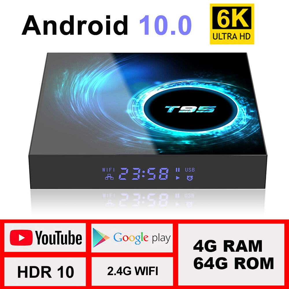 TV Box Android 10 4G 64G Support 6K 30FPS YouTube Google Play Google Voice Assistant LEMFO T95 H616