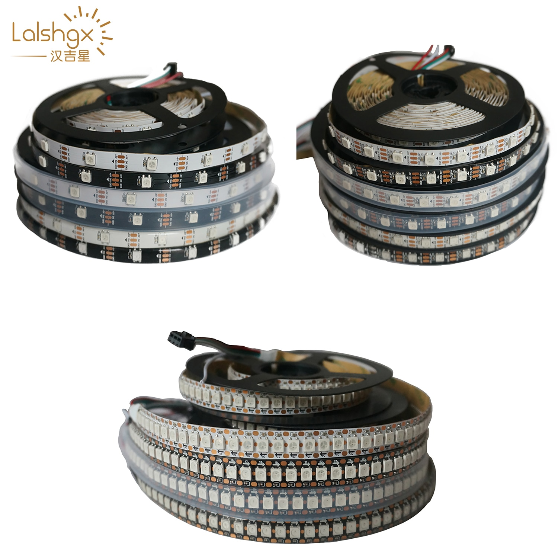 ws2812b ws2812 rgb led strip ws2812 individually addressable ic black white pcb waterproof grade ip30 ip65 ip67 dc5v WS2812 RGB Led Strip Lights WS2812B Individually Addressable Black/White PCB IP30/IP65/IP67 5V 1M/5M