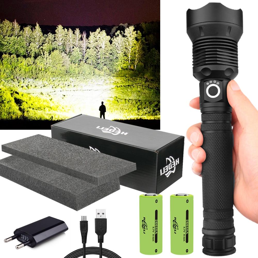 350000cd 1000 м XHP90.2 самый мощный светодиодный фонарик usb Zoom тактический фонарь xhp50 18650 или 26650 перезаряжаемый аккумулятор ручной светильник