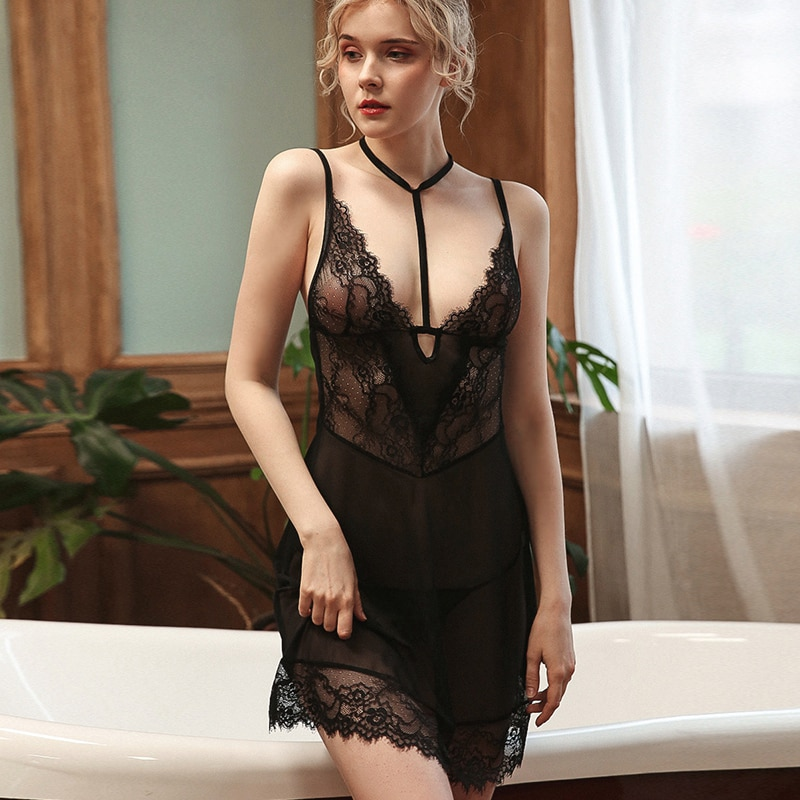 New Black deep V sleepwear lace sexy lingerie strap summer sling nightgown nightdress suit with T pants