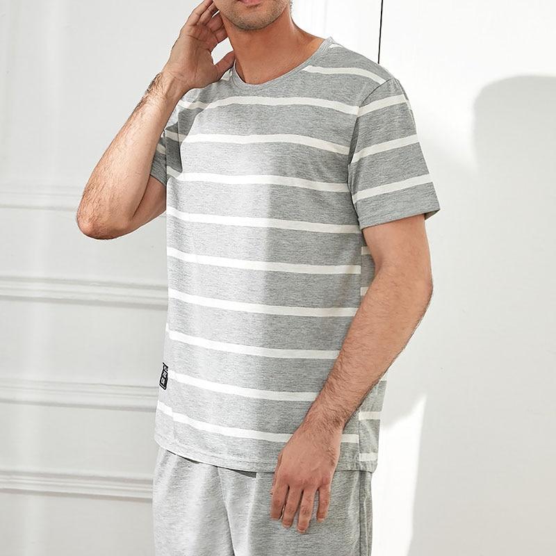 New O-Neck Lounge Striped Sleepwear Pyjamas Mens Short Sleeve Shorts Pajamas Set Sleepwear Leisure Suits Nightwear Men Homewear