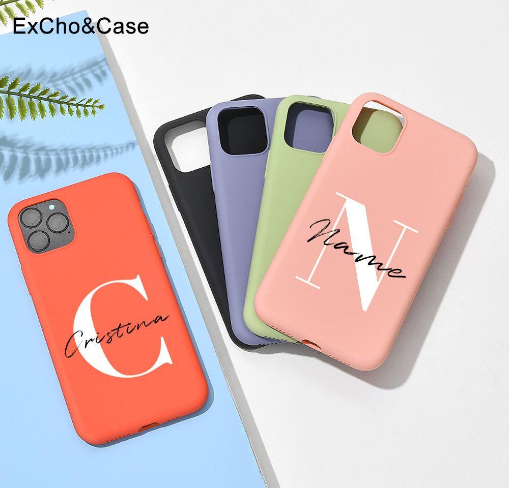Funda de teléfono con letras mayúsculas personalizadas, carcasa de silicona líquida para iphone SE 2020 6 6S 7 8 Plus X XS XR XS Max 11 Pro 12 Mini MAX