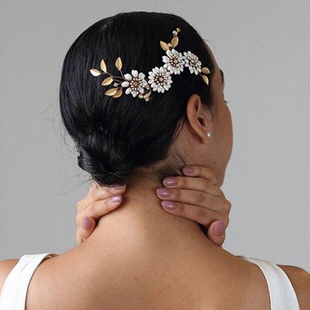 Flor folha headpieces de noiva headwear vintage ouro headbands cristal pentes damas de honra noiva jóias de cabelo acessórios de casamento