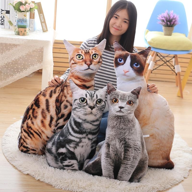 1 шт., 50/70 см, имитация 3D плюшевой кошки и искусственной кожи, мягкие набивные животные, подушка, диван, декор, мультяшные плюшевые игрушки для ...