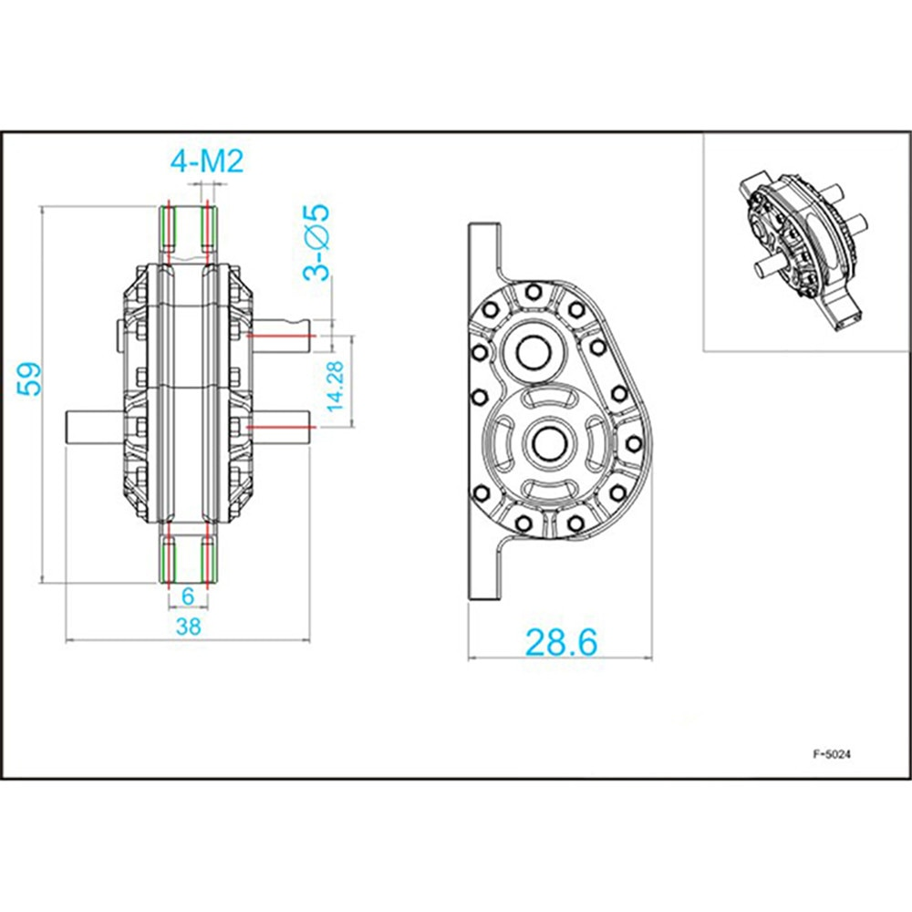 1/14 Truck Gearbox Transfer Case Reduction Gear Ratio 1:2 Aluminum Alloy For Tamiya Tractor Dumping Truck Modify enlarge
