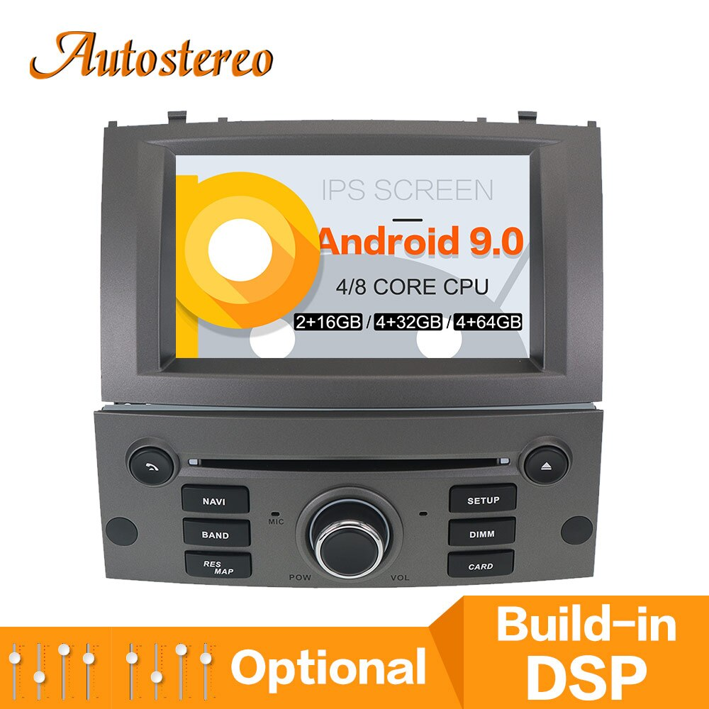 Reproductor de CD DVD para coche Android 10,0 para Peugeot 407 2004 2005, navegación GPS, reproductor multimedia, radio grabadora de cinta