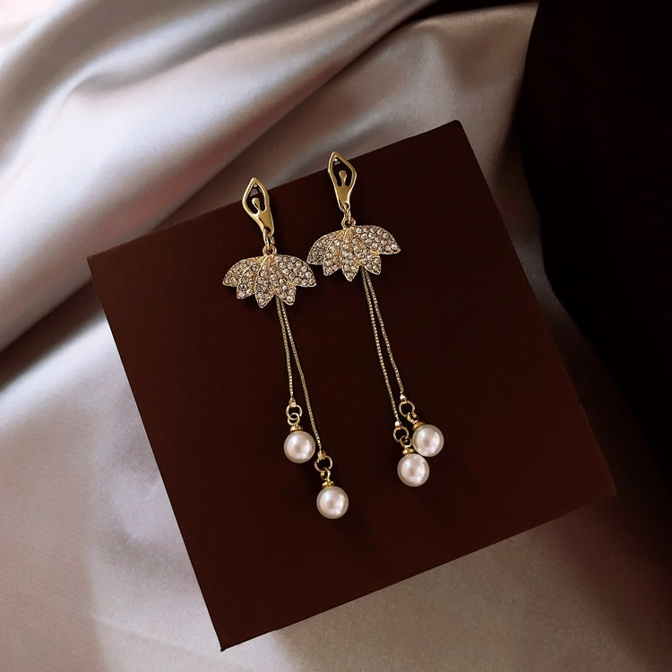 EK478 Long gland simulé perle pour les femmes cadeau Bijoux coréen Bijoux OL or couleur Pendientes boucle doreille