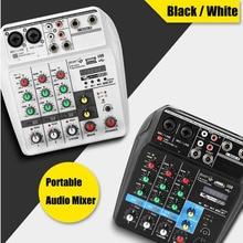 Mini Audio Console Bluetooth 48V Phantom Power 4 Channels for DJ Karaoke Multi-Function Digital Disp