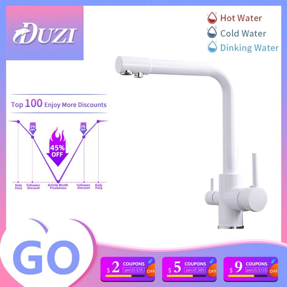 صنبور المطبخ 3 طريقة الذواقة المصارف خلاط تنقية مياه الشرب الباردة الساخنة 2 في 1 Bide الحنفية تصفيتها الزاوية اليمنى الانحناء الأبيض