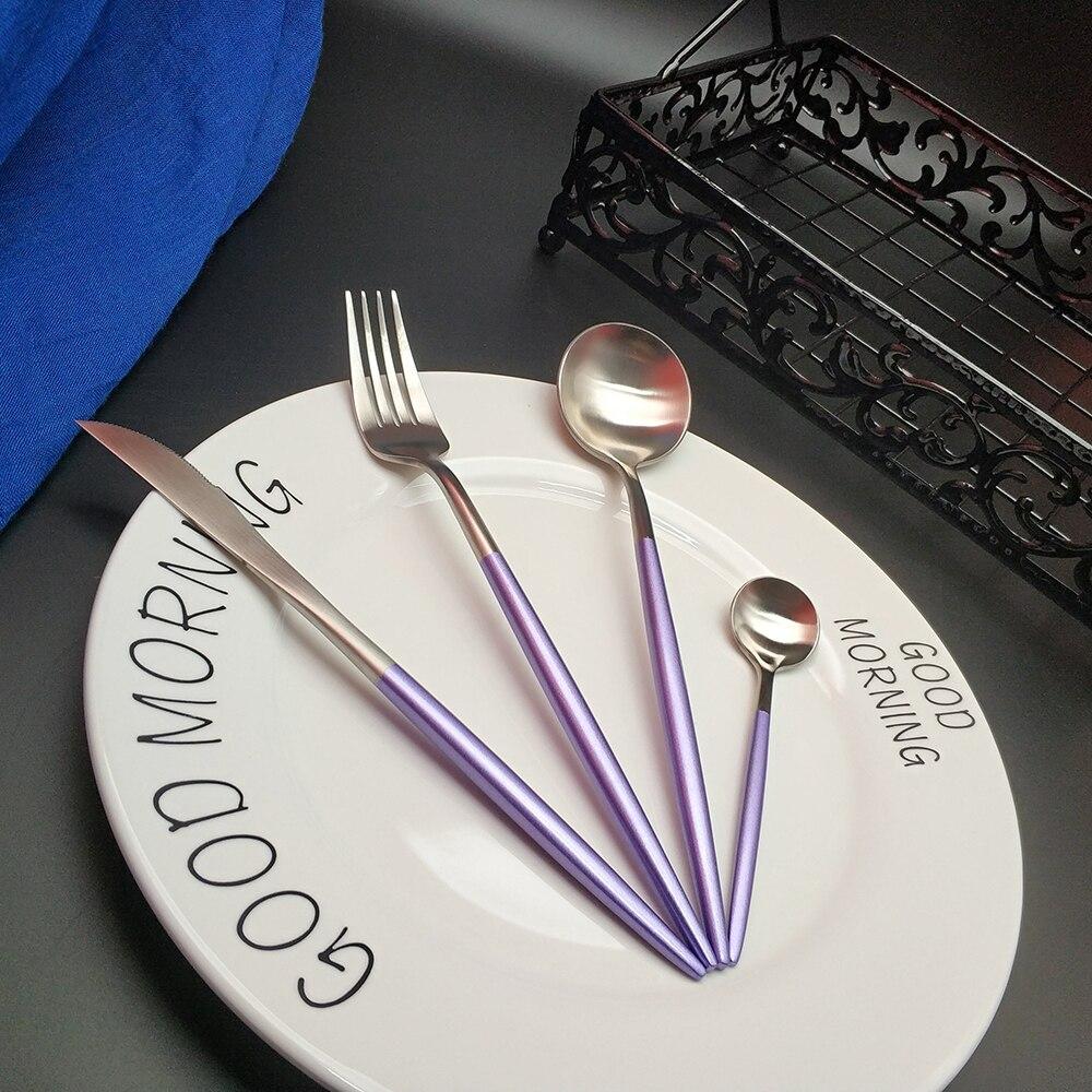 Gran oferta de cubertería de acero inoxidable y plata púrpura, cubertería de Vajilla de cena, cubertería, juegos de tenedor, cuchara, cuchillo