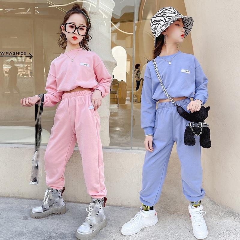 ملابس عصرية جديدة للرقص على طراز الهيب هوب للبنات بدلة هيب هوب رياضية بأكمام طويلة ملابس للرقص على طراز الجاز ملابس الهذيان 120-170