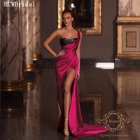 sexy fuchsia long arabic evening dress backless high slit sequins satin wedding party dresses long prom gowns robe de soiree