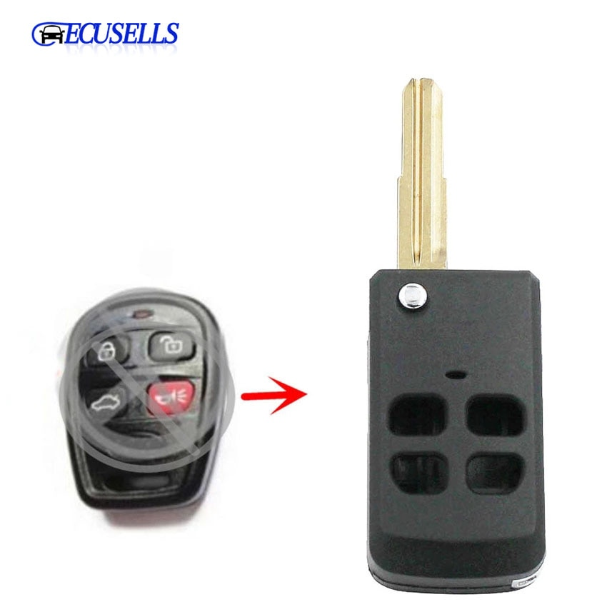 Funda de mando a distancia plegable con 4 botones de repuesto modificada para Kia Spectra 5 Sorento Amanti