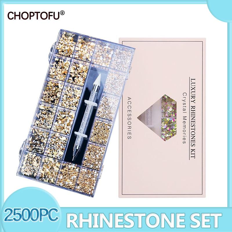 Nail Art Rhinestones Kit Large Crystal Acrylic Boxed Mixed Size Set Flatback Glass 1pc Pick Up Pen Decorations 3D AB Flat Gem