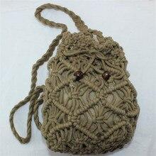 HPopular tissé évider sac de plage femmes Crochet frangé sacs de paille à la main jour embrayages tricot tissage Boho sac dété