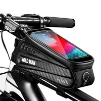 wild man waterproof bicycle bag frame front top tube cycling bag 6 5in mobile phone holder mount bracket touch screen bike bag