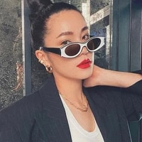 the new small oval frame sunglasses red ins in same character joker whimsy bump color sunglasses female tide