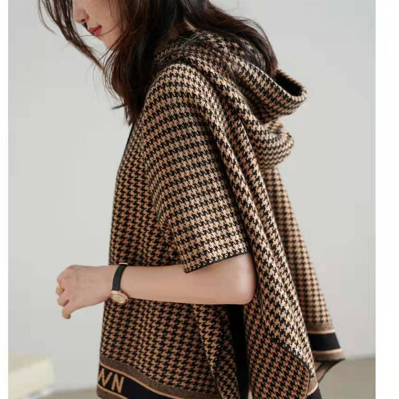 Women's Shawl Outer Wear Western Style Knitted Hoodie New Versatile Korean Style Loose Houndstooth Shawl Cape Coat for Women enlarge