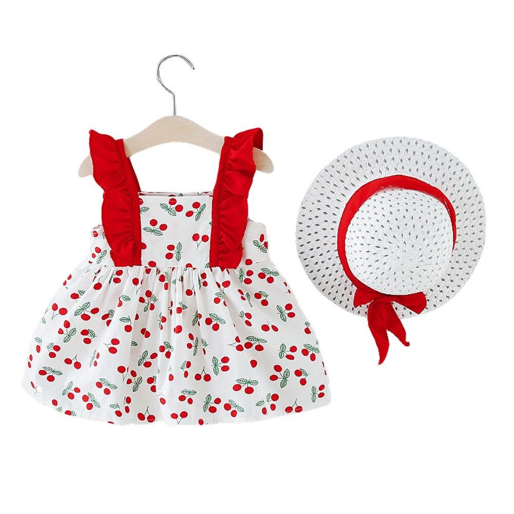 Verão vestidos de bebê da criança menina do bebê sem mangas vestido de princesa com arco chapéu roupas doce verão vestido de praia