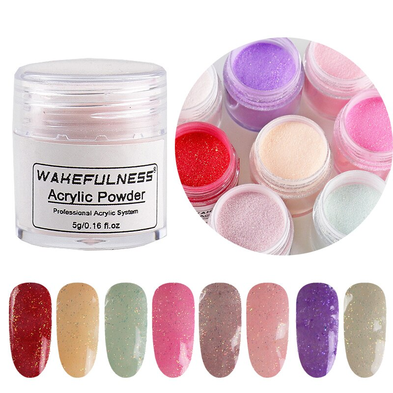 Polvo acrílico con brillo 5 gramos Rosa rojo rosa colores acrílico uñas manicura polvo manicura Kit juego de accesorios profesionales para uñas