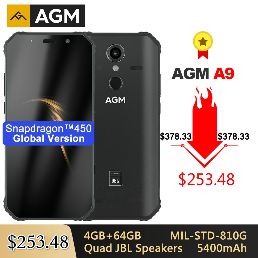 AGM A9 Rugged IP68 Waterproof Smartphone SDM450 5.99