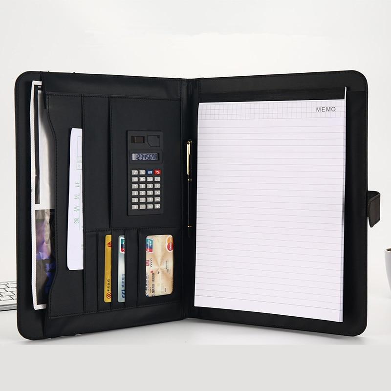 A4 file manager, folder, PU bag, Notepad, multifunctional business card holder, pen, calculator holder, reminder.