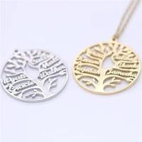 senfai personalized family names life of tree necklace custom name women pendant jewelry fashion round tree choker