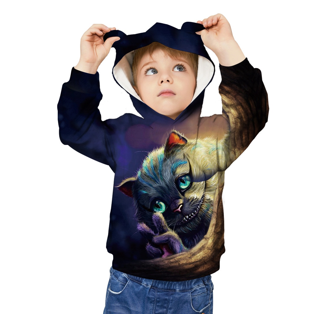 Sudadera con capucha con estampado 3d de gato escalofriante, abrigo para niños, jersey para niña, sudadera con dibujos animados, chándal, Sudadera con capucha con orejas de animal divertido para niños