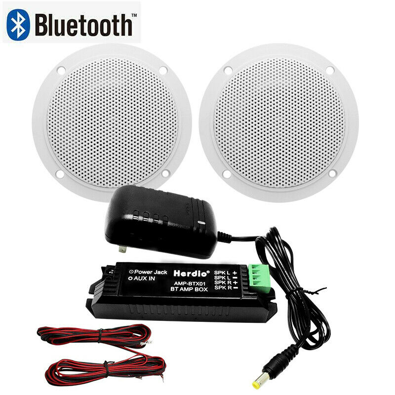 Herdio bathroom/kitchen wireless Bluetooth amplifier box X 4 inch Marine Bluetooth Ceiling speakers with AC/DC adaptor(White)