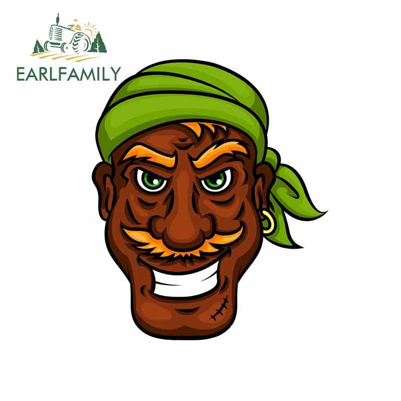 EARLFAMILY 13cm x 10.7cm for Laughing Pirate Sailor Cartoon Man Oem Car Stickers Vinyl JDM Bumper Trunk Truck Graphics Decal