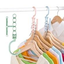 Nouveau 5 trous pratique vêtements cintre support économiseur despace organisateur merveille vêtements crochet magique cintre placard organisateur espace économiser #9