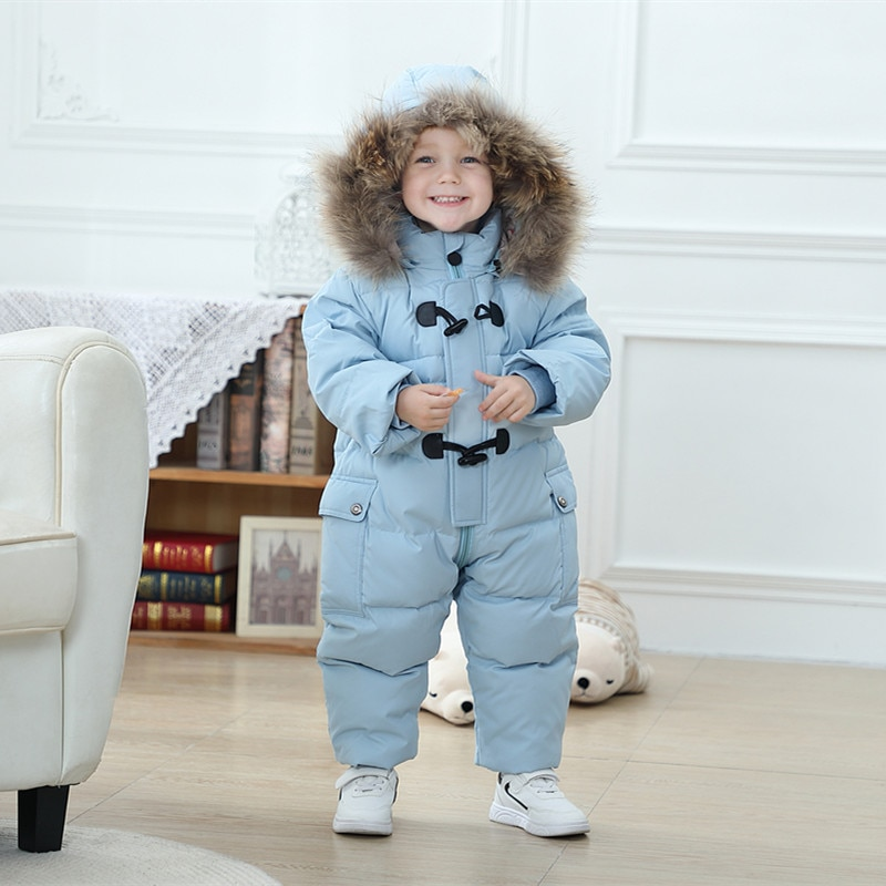 2021baby-winter-snowsuit-duck-down-hooded-coat-real-fur-infant-overalls-children-jumpsuit-for-girls-boys-snow-wear-rompers