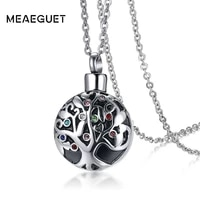 meaeguet cremation initial necklace tree of life with multi color crystal charm jewelry urn memory ashes holder keepsake