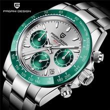 PAGANI DESIGN Green/Blue Chronograph Men Watch Quartz Stainless Steel Mens Wristwatch Japan Movement Timepiece with Genuine Box