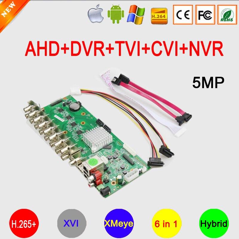 Hi3531D 5MP 16 canal 16CH/8CH/4CH XMeye detección facial H.265 + Audio 6 en 1 híbrido Coaxial XVI AHD DVR placa base