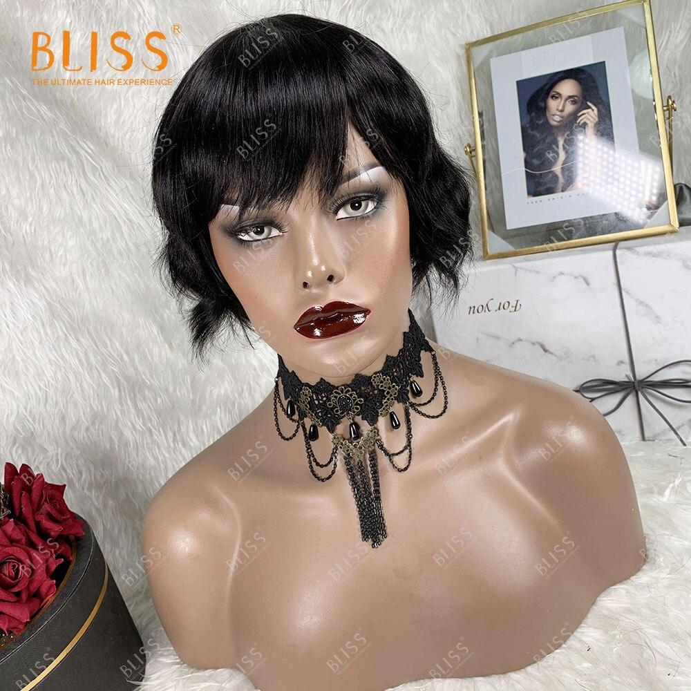 BLISS Body Wave 100% человеческие волосы парик для женщин короткий бразильский 180 плотность полный парик с челкой дешево